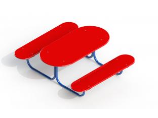 Столик + 2 лавки (дитячий - фанера)